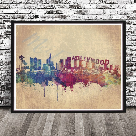 California Los Angeles retro skyline silhouette illustration on marble coasters MADE TO ORDER