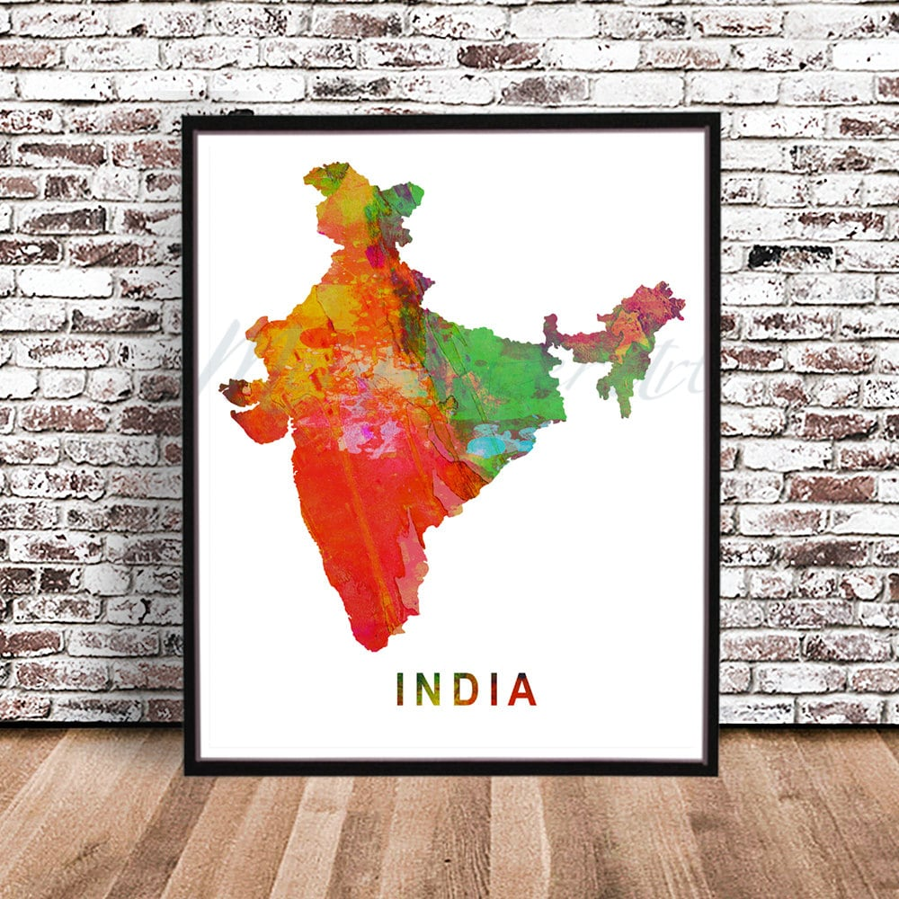 India country map watercolor painting poster city print art | Etsy