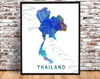Thailand Map PRINT, Watercolor painting, Thai Map, Thailand Poster, Thailand watercolour maps, wall art, Bangkok, Chiang Mai, Thai drawing