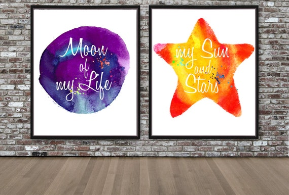 Moon Of My Life My Sun And Stars Series Watercolor Print Game Etsy