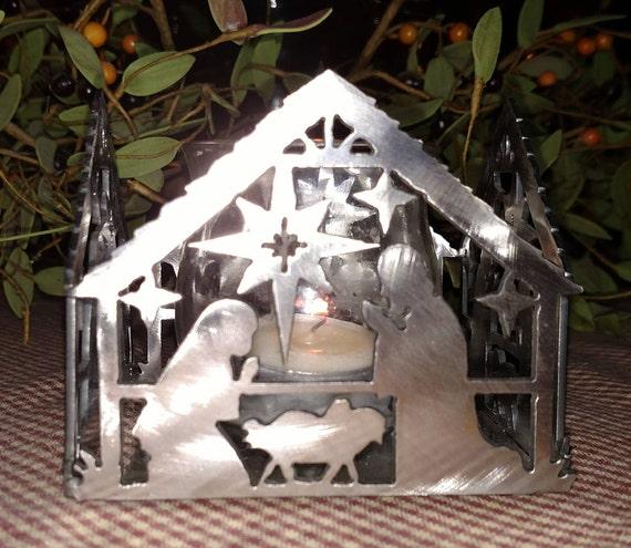 Nativity Scene Votive Candle Holder