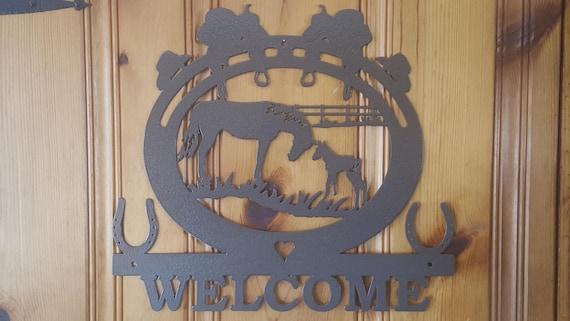 Plasma Cut Metal Sign,Welcome Sign,Metal Art,Wall Decor,Wall Art,Barn Art, Farmhouse decor,Country Western,Horse Art,Horse Lover Horse Rider