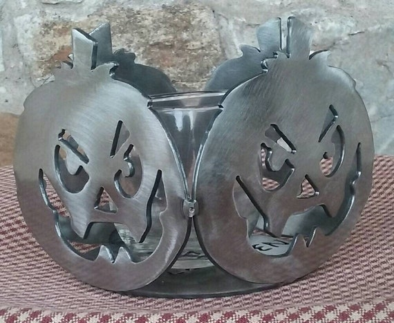 Jack-O-Lantern Candle Holder with glass votive,Halloween Decor,Fall Decor,Free Shipping