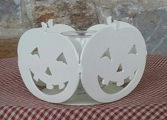 Jack-O-Lantern Pumpkin Candle Holder with glass votive,Halloween Decor,Fall Decor,Free Shipping