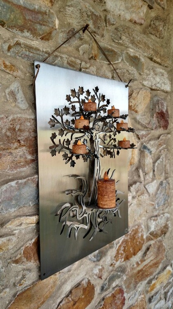 3D Tree of Life Metal Wall Art,Tea Light and Votive Candle Holder,Home Decor,Housewarming Gift,Gift for Her,LED Candles,Custom Metal Art
