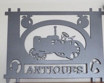 Plasma Cut Metal Sign,Antiques Sign,Antique Tractor,Metal Art,Wall Decor,Wall Art,Antique Store,Farmhouse decor,Country,HomeDecor,Farm LIfe