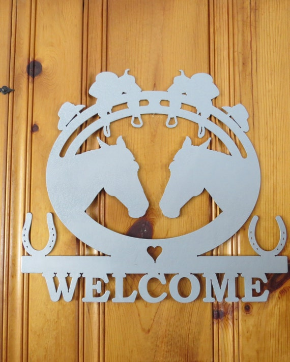 Plasma Cut Metal Sign,Welcome Sign,Metal Art,Wall Decor,Wall Art,Barn Art, Farmhouse decor,Country Western,Horse Art,Horse Lover Horse Rider