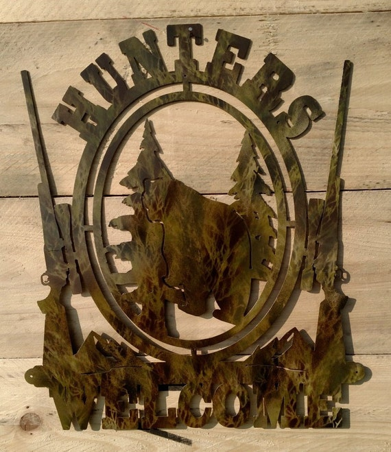 Camouflaged Hunters Welcome Sign with bear silhouette, free shipping