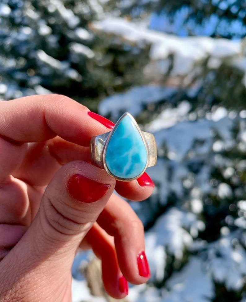 8e0a9a4609df6 Larimar Ring (size 7.5) in Sterling Silver - Throat Chakra Stone - Soulmate  Stone