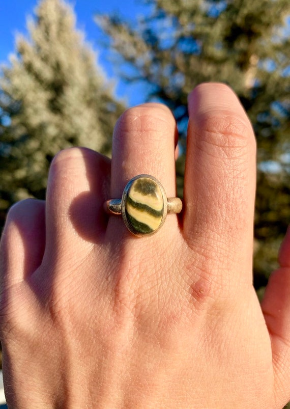 Ocean Jasper ring size 8.25 in sterling silver increased joy Promotes elevated spirits