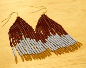 Terracotta & Periwinkle Bead Woven Earrings