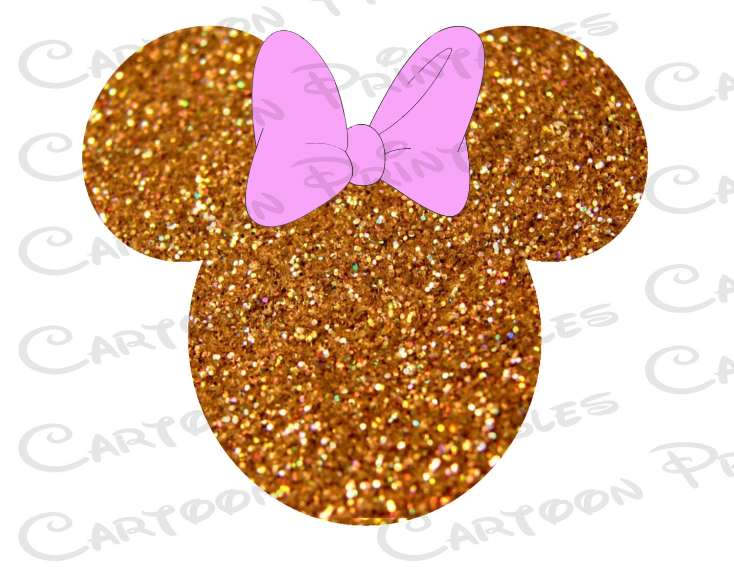 Minnie Mouse Head Gold Glitter Bling Image Mouse Ears Etsy