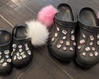 Mommy and me custom Crocs with charms and puff - option to add chain with letter charms - read description