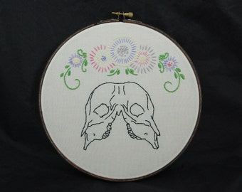 Conjoined Two-Headed Calf Skull Embroidery Hoop Art