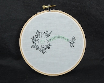 Schematic Neuron Embroidered Hoop Art