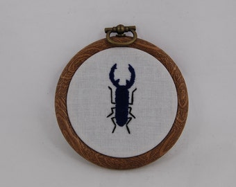 Blue Beetle Small Embroidered Hoop Art