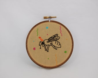 Bee Wasp Party Animal Embroidered Hoop Art