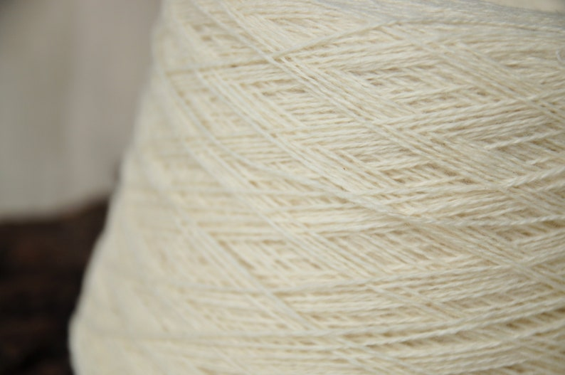 Natural White Wool Yarn In 1 Kilo Cones Sock Weight For image 0