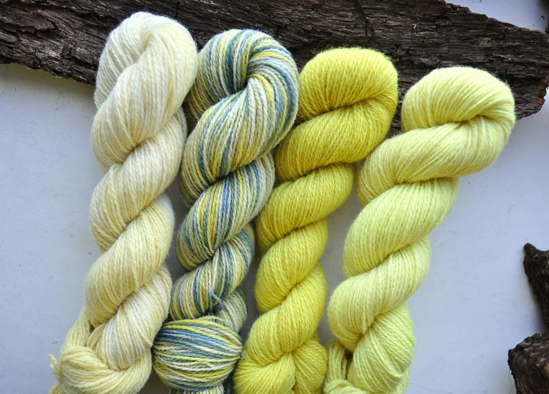 Cream And Blue Yarn Pack Indie Dyed Variegated Yellow