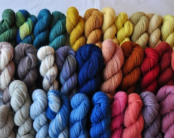 Naturally Dyed Fingering Weight Wool Yarn In 50 gram skeins