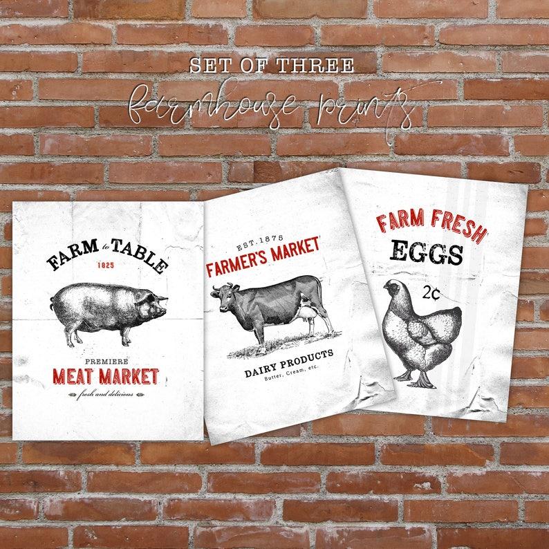 farmhouse wall decor Eggs Kitchen decor set of 3 food print Fine art photography rustic wall art Milk and Bread kitchen art print