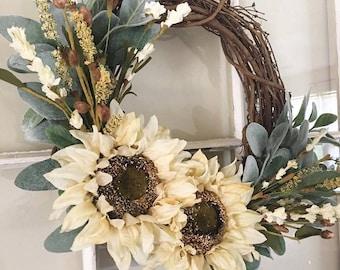 Fall Wreath, Fall Sunflower Wreath, Lambs Ear Wreath, Neutral Wreath, Farmhouse Decor, Front Door Wreath, Thanksgiving Wreath