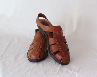 691fc3757db5 Vintage 1990 s Cole Haan Brown Leather Fisherman Sandals w  Buckle