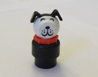 Vintage Fisher Price Little People Dog with Red Collar