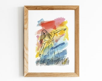 Gone with the Wind Print   Strong Woman in Grass Field Artwork   Watercolor and Pen Portrait Illustration   Multicolored Feminine Wall Art