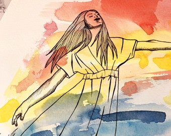 Original Painting: Gone with the Wind   One with Nature Collection   Watercolor and Pen Illustration   Orange Yellow Blue Wall Art