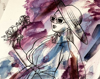 Original Painting: Anticipation   One with Nature Collection   Watercolor and Pen Portrait Illustration   Feminine Anemone Wall Art
