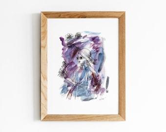Anticipation Print   Beautiful Woman with Anemones Artwork   Watercolor and Pen Portrait Illustration   Feminine Purple Blue Wall Art