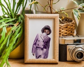 Mysterious Woman   Whimsical Watercolor Print of Original Fashion Illustration   Purple Fashion Wall Art