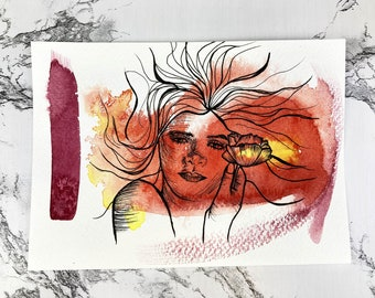 Painting Study: Daisy   One with Nature Collection   Watercolor and Pen Portrait Illustration   Feminine Orange Gerbera Wall Art