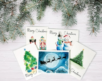 Assorted Watercolor Christmas Card Set with Deckled Edge   Premium Luxury 5x7 Cards   Designed and Made in USA
