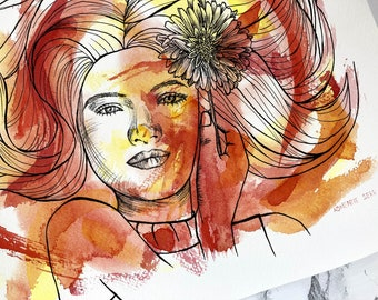 Original Painting: Daisy   One with Nature Collection   Watercolor and Pen Portrait Illustration   Feminine Orange Gerbera Wall Art