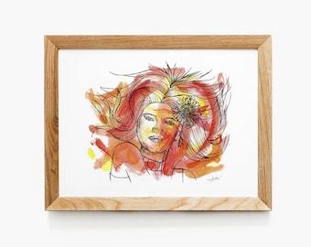 Daisy Print   Beautiful Woman with Gerbera Daisy Artwork   Watercolor and Pen Portrait Illustration   Feminine Orange Red Wall Art
