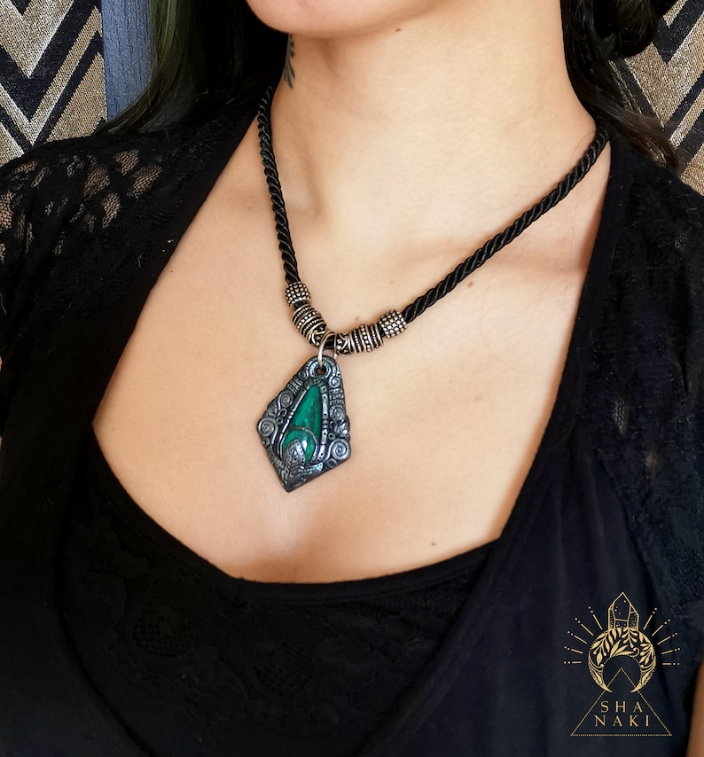 Chrysocholla Jungle mystery Necklace polymer clay healing crystal sculpted pendant