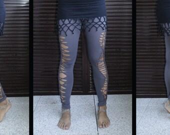 Tribal Legging grey Shredded cutted