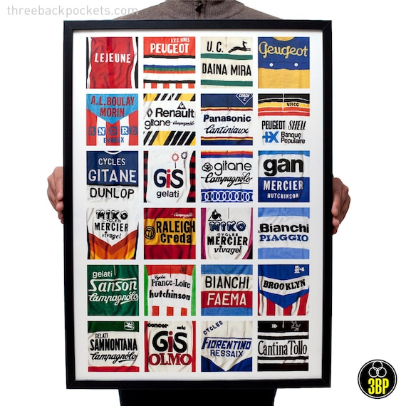 Iconic Vintage Cycling Jersey Print Poster Brooklyn, Bianchi, Sanson, Raleigh