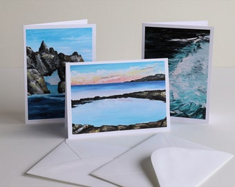 Eaglehawk Neck seascape greeting cards set of 3 prints of original oil paintings by Mel Andrewartha