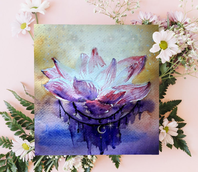 Lotus Flower Watercolor Print Nature Art Hope Beauty Etsy