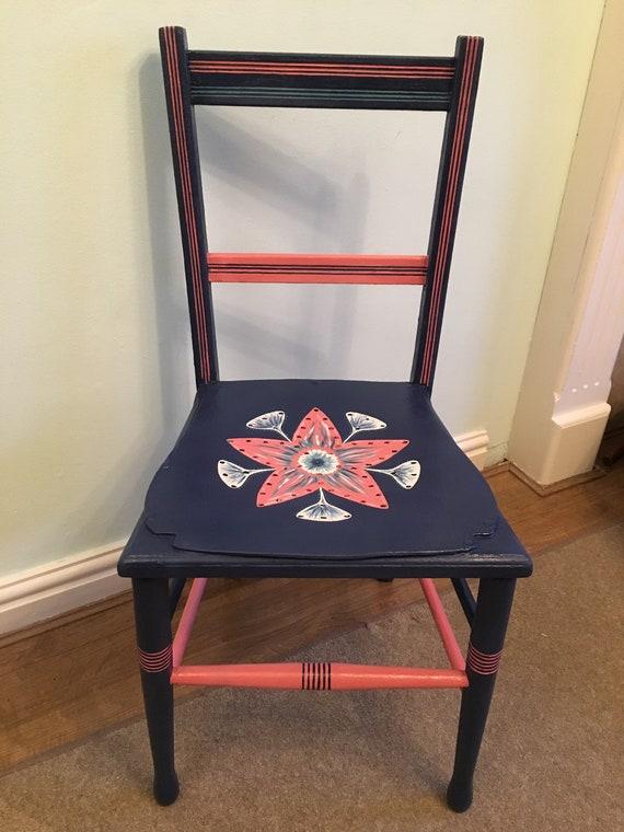 Bespoke Hand Painted Blue Bedroom Chair