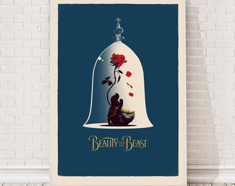 Beauty and the Beast Disney Poster Art : Film Poster Movie Poster Cult Vintage Prints gift Minimalist Wall Home Art Retro Collectibles