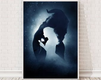 Beauty and the Beast Poster Art : Film Poster Movie Poster Cult Vintage Prints Disney gift Minimalist Wall Home Art Retro Collectibles