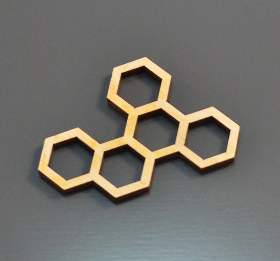 Wooden frame (set of 4 pcs) - Hexagons - Open bezel for epoxy resin -  Wooden billet - Laser cut - From for jewelry