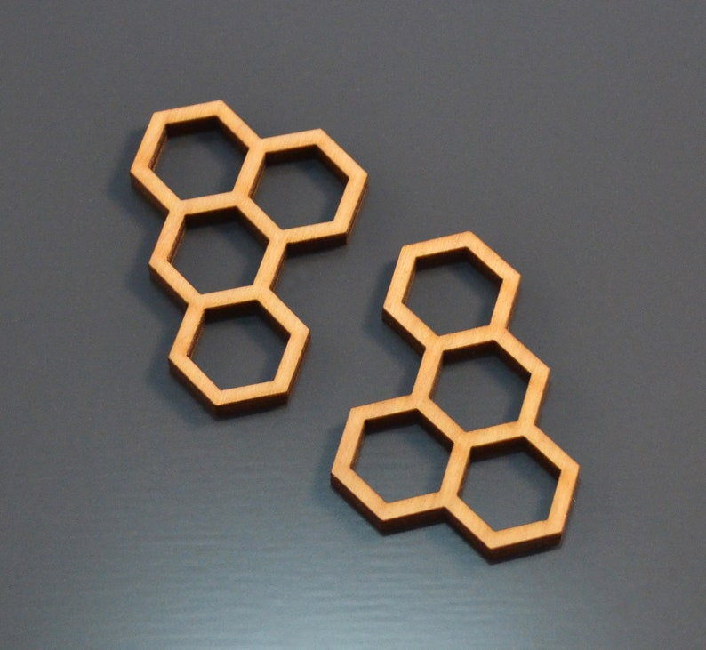 Wooden frame (set of 6 pcs) - Hexagons - Open bezel for epoxy resin -  Wooden billet - Laser cut - From for jewelry