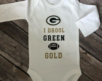 83bb6030f Customizable Sports Fan Onesie - I Drool Green and Gold -Green Bay Packers  onesie