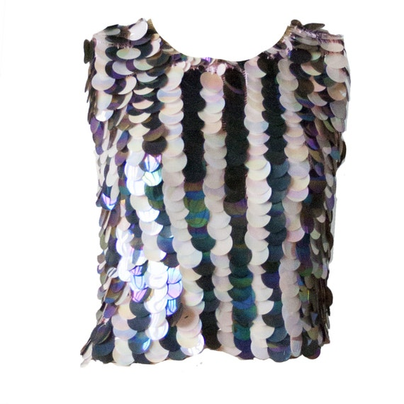 Fun Vintage 60s Top with Large Pearlescent Sequins