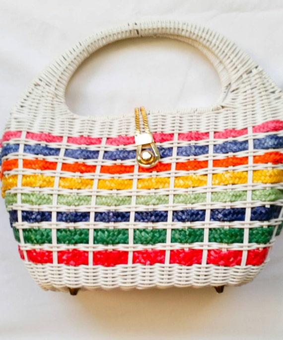 Vintage White Multi Colored Bucket Handbag